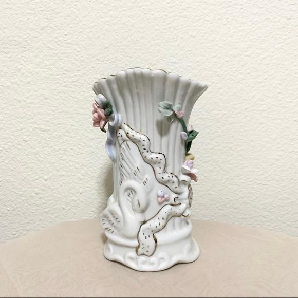 Vintage floral swan vase